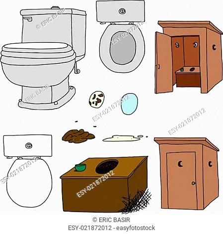 Toilet and outhouse Illustrations