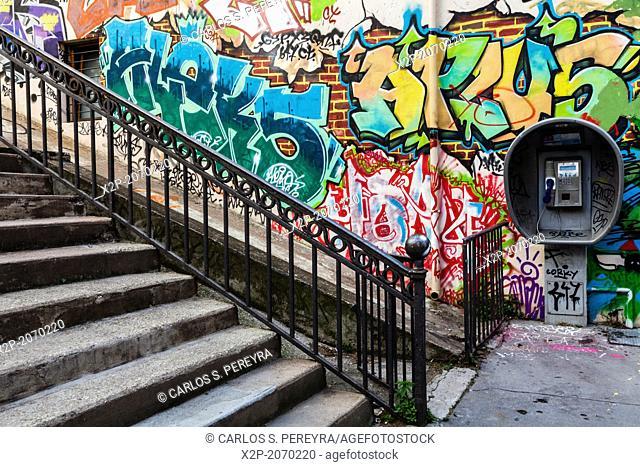 Street art at Croix Rousse, Lyon, Rhone Alps, France, Europe