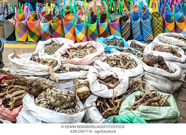 Medicinal herbs for sale at the Manzini Wholesale Produce and Craft Market in Swaziland, Africa