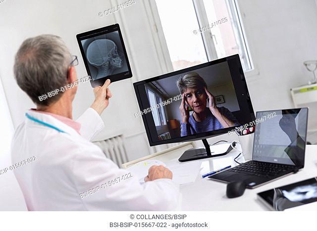 Medical teleconsultation with senior female patient