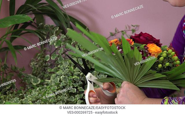 composition of a round colored bouquet