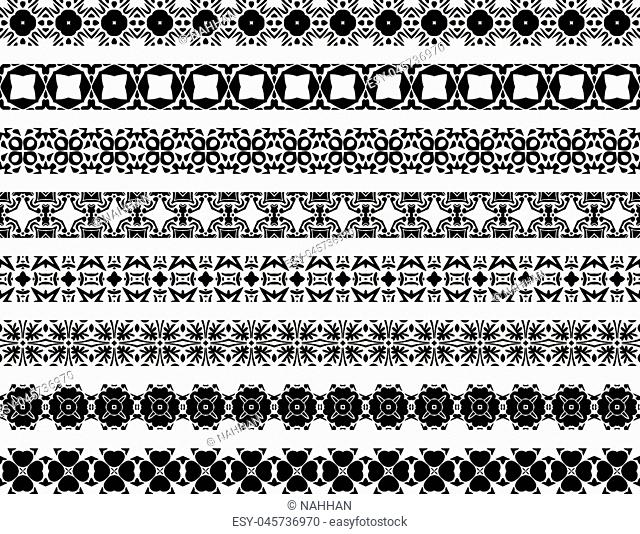 Set of eight illustrated decorative borders made of Portuguese tiles in black and white