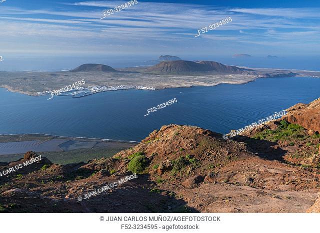 Isla Graciosa, Isla Alegranza, Mirador del Río, Riscos de Famara, Lanzarote Island, Canary Islands, Spain, Europe