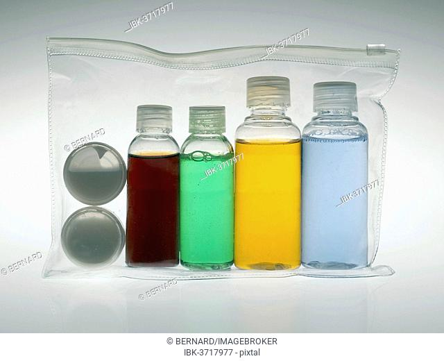 Clear bag with the permitted amounts of liquids for aircraft hand luggage, Germany