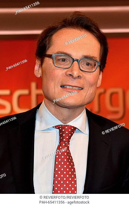 Journalist and SVP politician Roger Koeppel at the ARD talkshow 'maischberger' in WDR Studio 3 inCologne,Germany, 27 January 2016