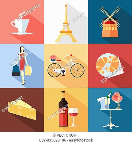 Set of France travel colorful flat icons, France symbols with long shadow for your design. Vector illustration
