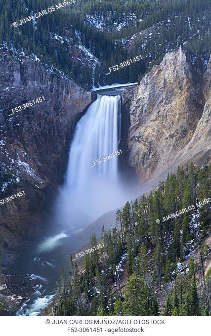 Lower Falls, Grand Canyon of the Yellowstone, Yellowstone National Park, Unesco World Heritage Site, Wyoming, Usa, America