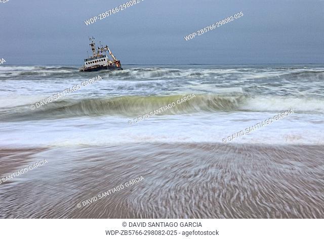 Shipwreck boat near Swakopmund, Skeleton Coast, Namibia