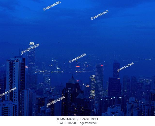 Skyline of Hong Kong, Central District by night with the International Finance Centre, China