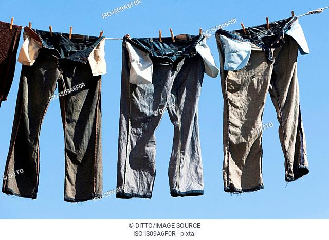 Trousers on clothes line
