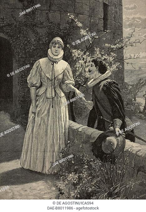 A stolen tryst, engraving from The Illustrated London News, volume 97, No 2695, December 13, 1890
