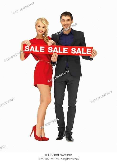 bright picture of man and woman with sale sign