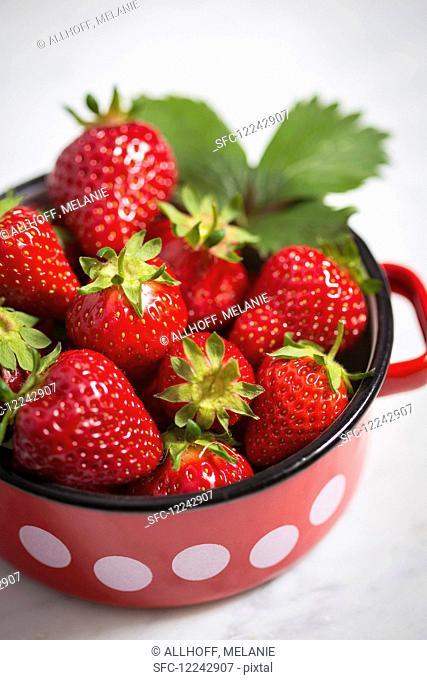 Strawberries in an enamel pot