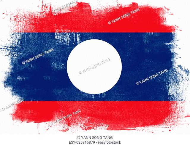 Flag of Laos painted with brush on solid background