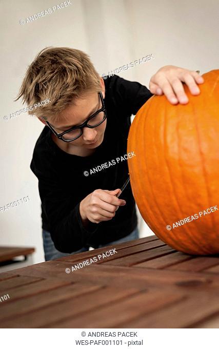Boy preparing an oversized pumpkin for Halloween lantern