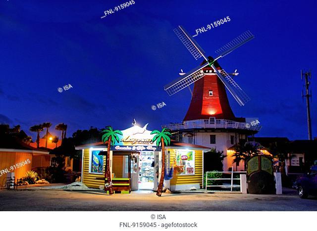 Traditional windmill at night, Aruba, Caribbean