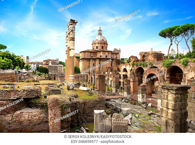Ruins of Roman Forum in summer, Italy