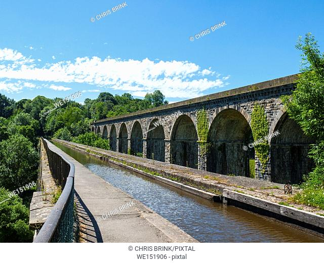 Langollen Canal aqueduct with railway viaduct in Chirk, North Wales, UK