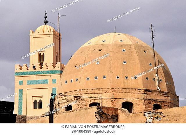 Dome and minaret of the Ben Youssef Mosque in the medina quarter of Marrakesh, Morocco, Africa