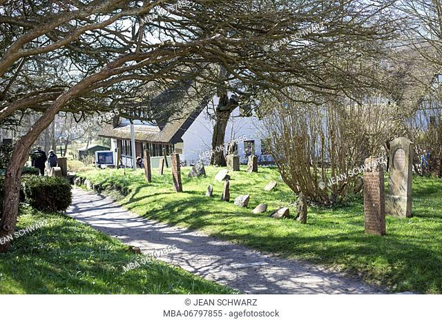 Old gravestones on the cemetery of Hiddensee island, Germany