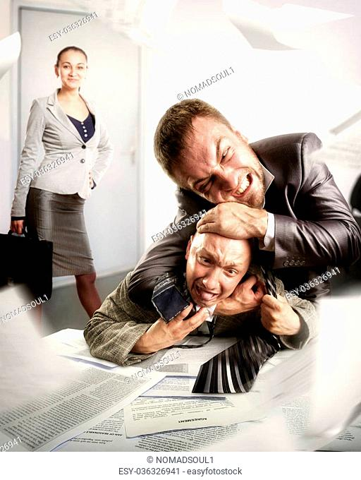 Two angry businessmen are fighting against business woman