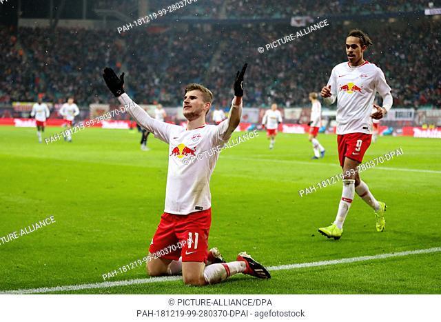 16 December 2018, Saxony, Leipzig: Soccer: Bundesliga, 15th matchday, RB Leipzig - FSV Mainz 05 in the Red Bull Arena Leipzig