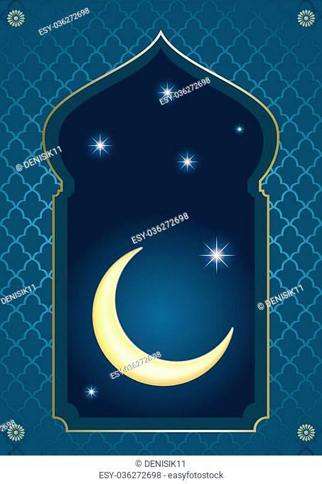 Cover in the eastern Arabian style with an arch and half moon against the starry night sky