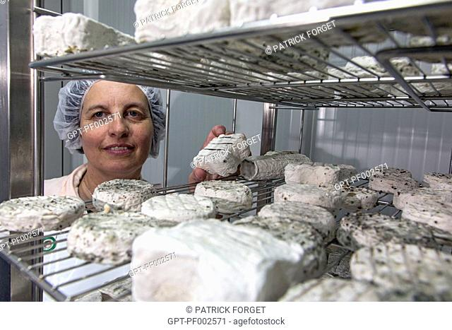 SYLVIE LHOSTE, GOAT FARMER AND CHEESE-MAKER, IN THE REFRIGERATED MATURING ROOM, TRADITIONAL CHEESE DAIRY OF LA FERME DE LA HUTTE, LONGNY-AU-PERCHE, ORNE (61)