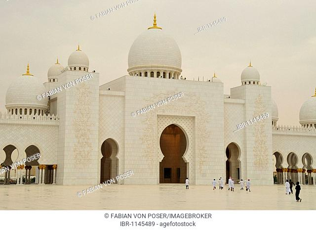 Detail of the Sheikh Zayed bin Sultan Al Nahyan Mosque, third largest mosque in the world, Abu Dhabi, United Arab Emirates, Arabia, Middle East, Orient