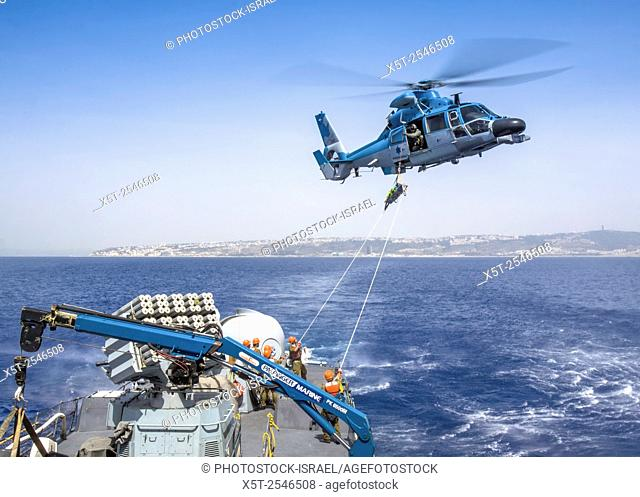 Israeli Air force helicopter, Eurocopter HH-65 Dauphin used by the Israeli Navy missile boat class Saar 4. 5