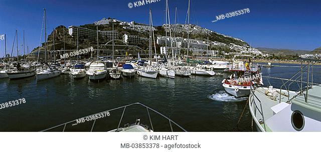Spain, island grain Canaria Puerto Rico city-opinion, harbor, Canaries, coast, hotel-installations, hotels, beach, sandy beach, beach, harbor-basins, marina