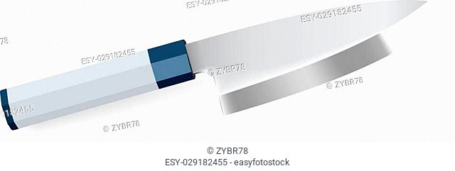 Vector illustration of photorealistic chef knife on white background