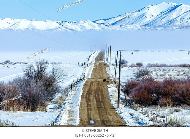 Rural road during winter in Fairfield, Idaho