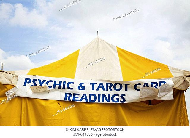 ILLINOIS   Grayslake   Sign for psychic and tarot card readings on yellow tent, Lake County Fair