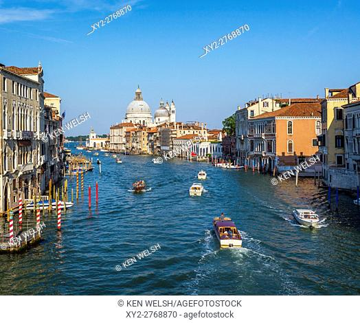 Venice, Venice Province, Veneto Region, Italy. View along the Grand Canal to Santa Maria della Salute. Venice is a UNESCO World Heritage Site