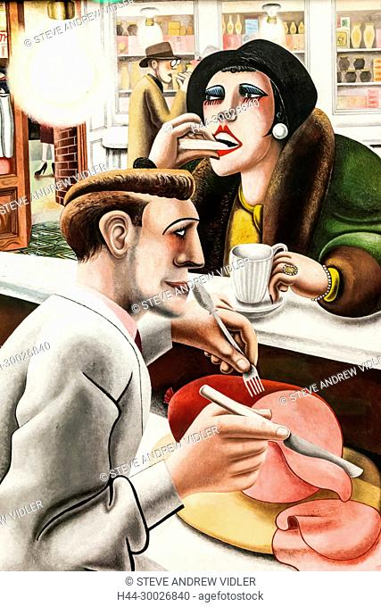 Painting titled The Snack Bar by Edward Burra dated 1930