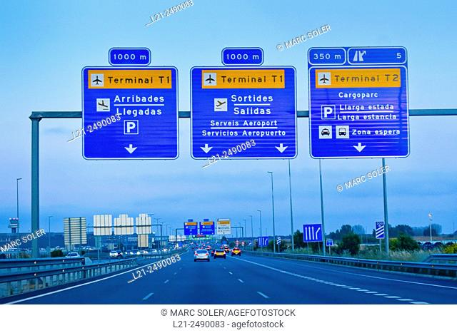 Highway, signs  to Terminal 1 and Terminal 2 of the Barcelona Airport, Prat del Llobregat, Barcelona province, Catalonia, Spain
