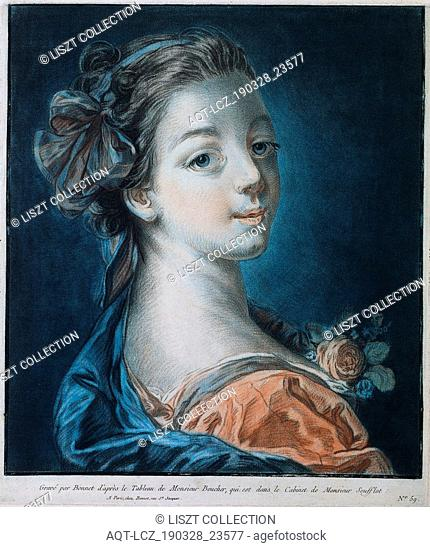 Head of a Woman (Mme. Deshayes?), c. 1771. Louis-Marin Bonnet (French, 1736-1793), after François Boucher (French, 1703-1770)