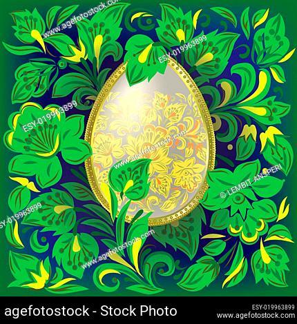 easter egg on floral ornament
