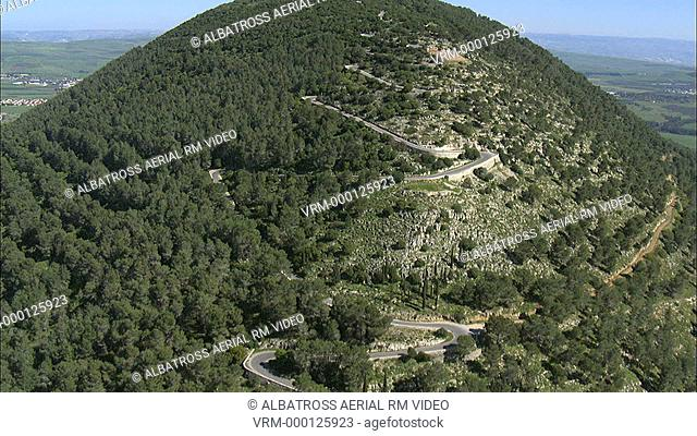Aerial footage of Mount Tabor in the Lower Galilee