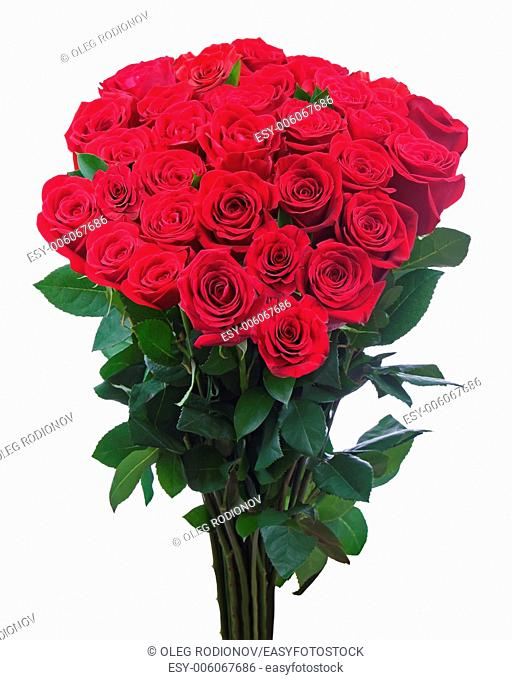Flower bouquet from red roses isolated on white background. Closeup