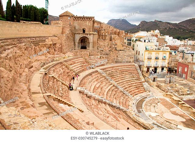 Roman theater of Carthago Nova, one of the landmarks of the city of Cartagena, Spain