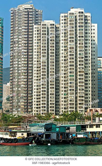 Skyscrapers overlooking the Aberdeen Harbour Sampan boat port at the Aberdeen Channel, Aberdeen, Hong Kong