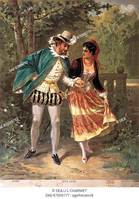 Francia - 19th century. Don Juan by Wolfgang Amadeus Mozart (1756-1791). Postcard.  Paris, Bibliothèque-Musée De L'Opéra National De Paris-Garnier (Library)