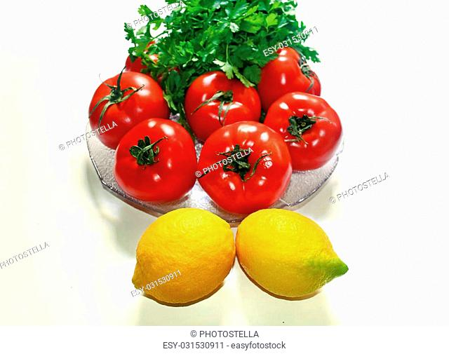 yellow lemons red tomatoes and parsley vegetables icon healthy diet concept