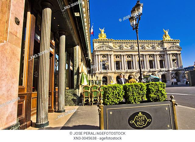Cafe de la Paix, on background Palais Garnier, opera house, Opéra Garnier or Opéra de Paris, Facade, Boulevard des Capucines, 9th arrondissement, Paris, France