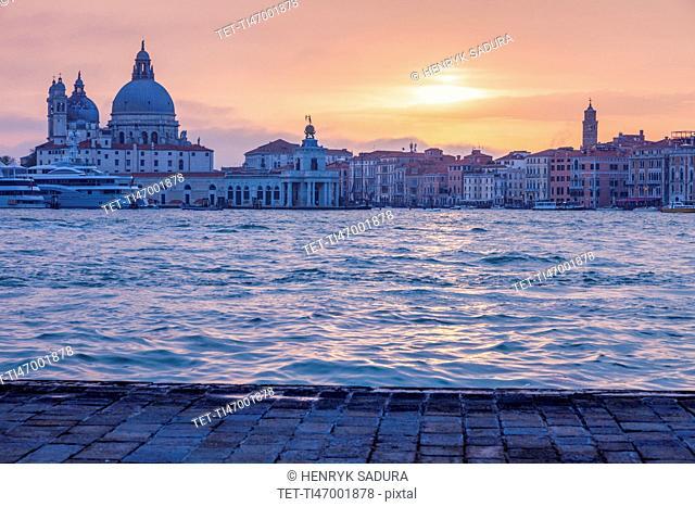 Italy, Veneto, Venice, Santa Maria della Salute Basilica in sunset light