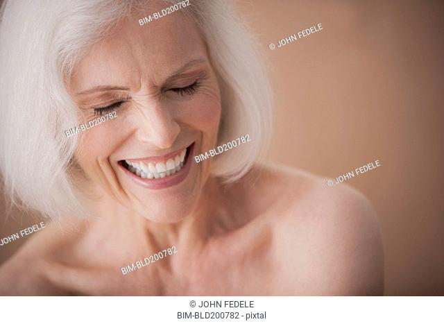 Laughing Caucasian woman