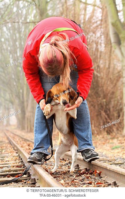 woman and Beagle