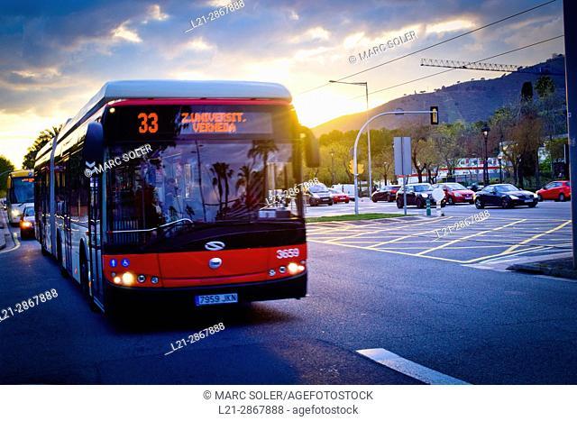 Bus in Diagonal Avenue at sunset. Barcelona, Catalonia, Spain